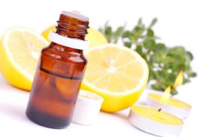 Essential oil and lemon