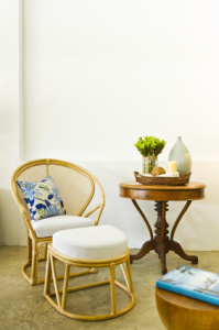 Table chair combination bamboo rattan seating area
